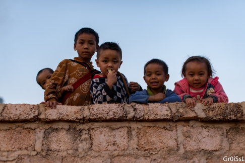 Children welcoming us to the village